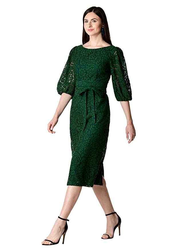 1950s Cocktail Dresses, Party Dresses eShakti FX Blouson Sleeve Guipure lace OBI Belt Dress - Customizable Neckline Sleeve $79.95 AT vintagedancer.com