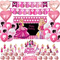 Girls Theme Birthday Party Favors for Barbie Party Supplies Cake Toppers Balloons Banners Backdrop Decorations
