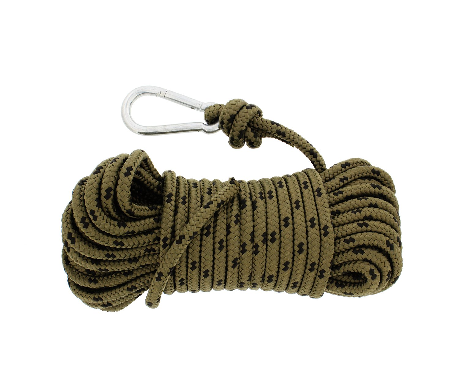 Redneck Convent Nylon Braided Rope & Carabiner 3/8 Inch x 50 Feet 220 lbs Pound - Cleat Tensioner Rigging Device Tie Down Strap Anchor by Redneck Convent