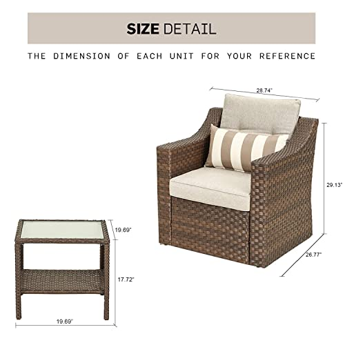 SOLAURA Patio Outdoor 3 Pieces Furniture Set Brown Wicker Sofa Light Brown Cushion