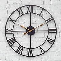 Mofine Large Outdoor Clock, Vintage Antique European Industrial Decorative Metal Roman Outdoor Clock, Silent Battery…