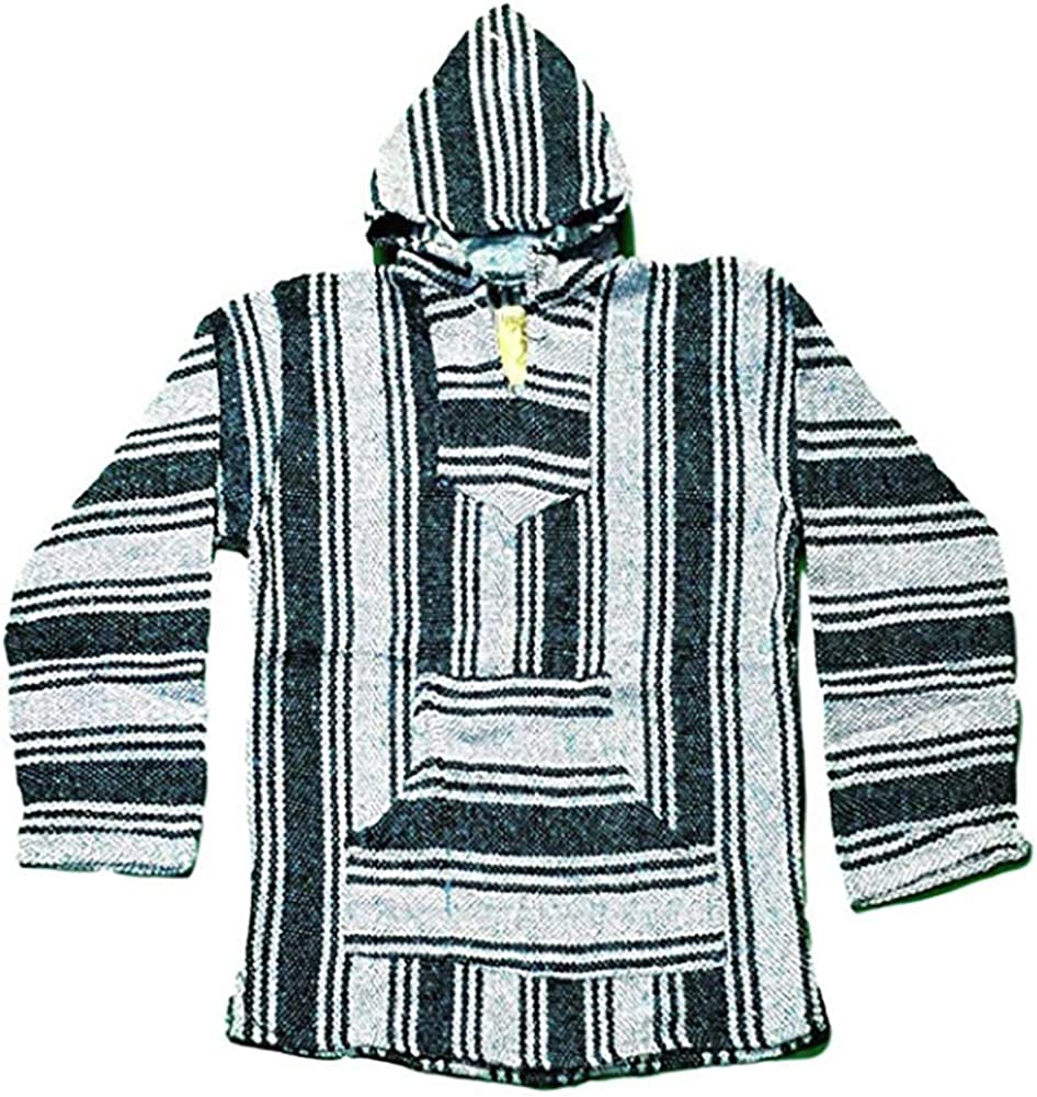 One Size Unisex Handmade Poncho Hoodie with Large Pocket Striped Blanket Poncho with Hood