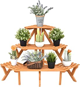 Giantex 3-Tier Free Standing Plant Stand Corner Flower Pot Holder Display Rack Stand, Natural Wood