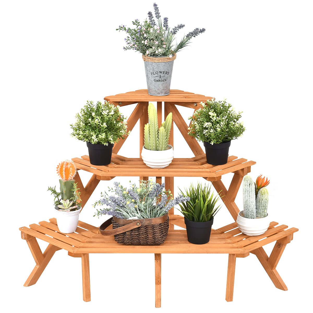 Giantex 3-Tier Free Standing Plant Stand Corner Flower Pot Holder Display Rack Stand, Natural Wood by Giantex