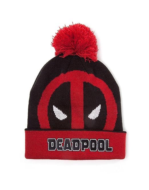 Marvel Comics Deadpool Face Roll-up Cuffed Beanie with Pompom, Gorro de Punto Unisex Adulto, Red, Talla única: Amazon.es: Ropa y accesorios