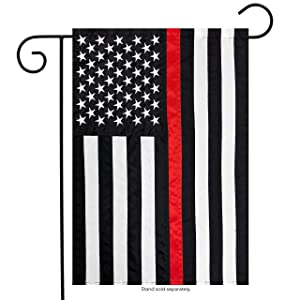 "Briarwood Lane Thin Red Line Garden Embroidered Flag Firefighter 12.5"" x 18"""
