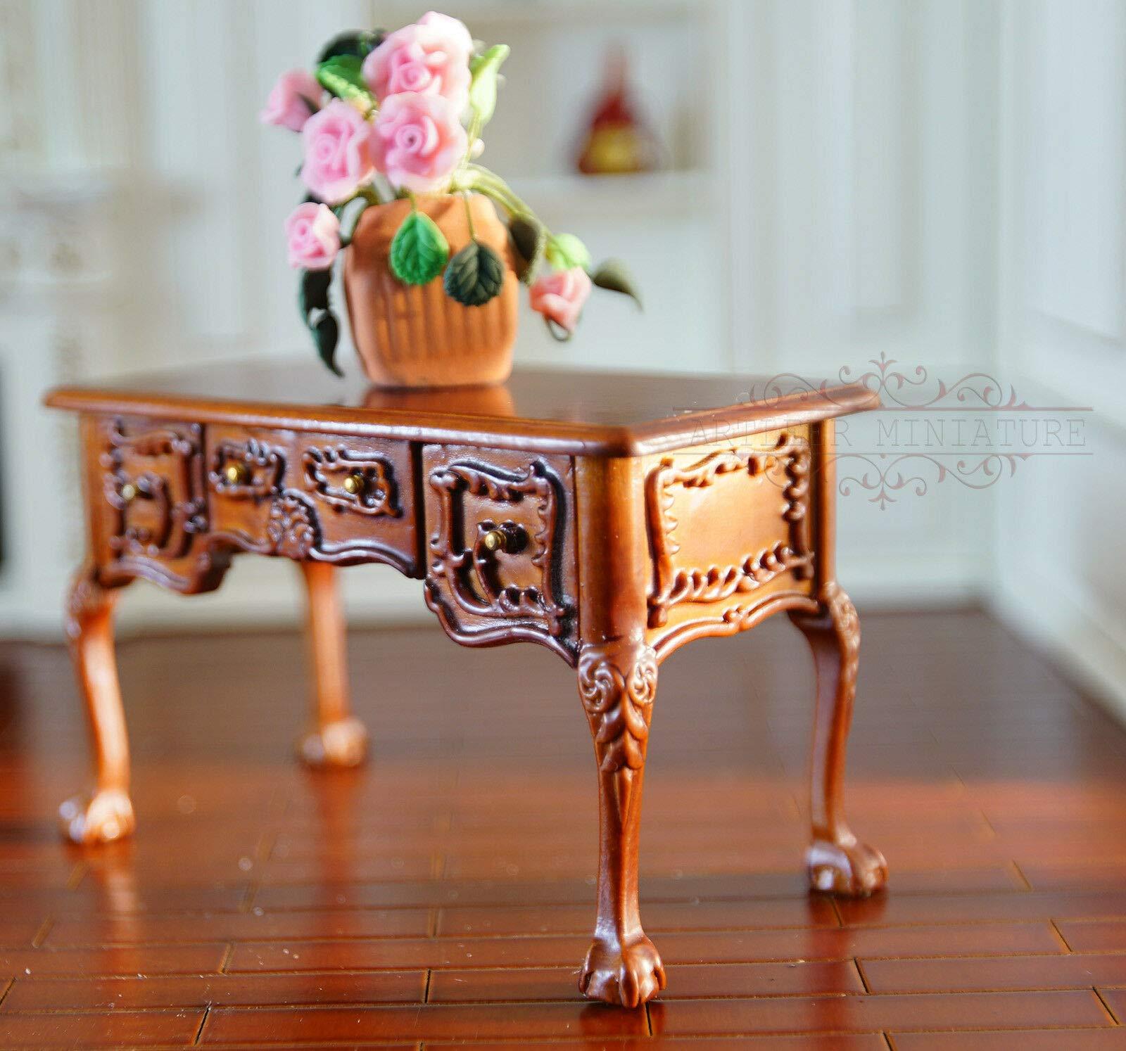 ARTLEER 1:12 Dollhouse Desk Miniature Desk Handmade Vintage Polished Wooden XZT0018A by ARTLEER
