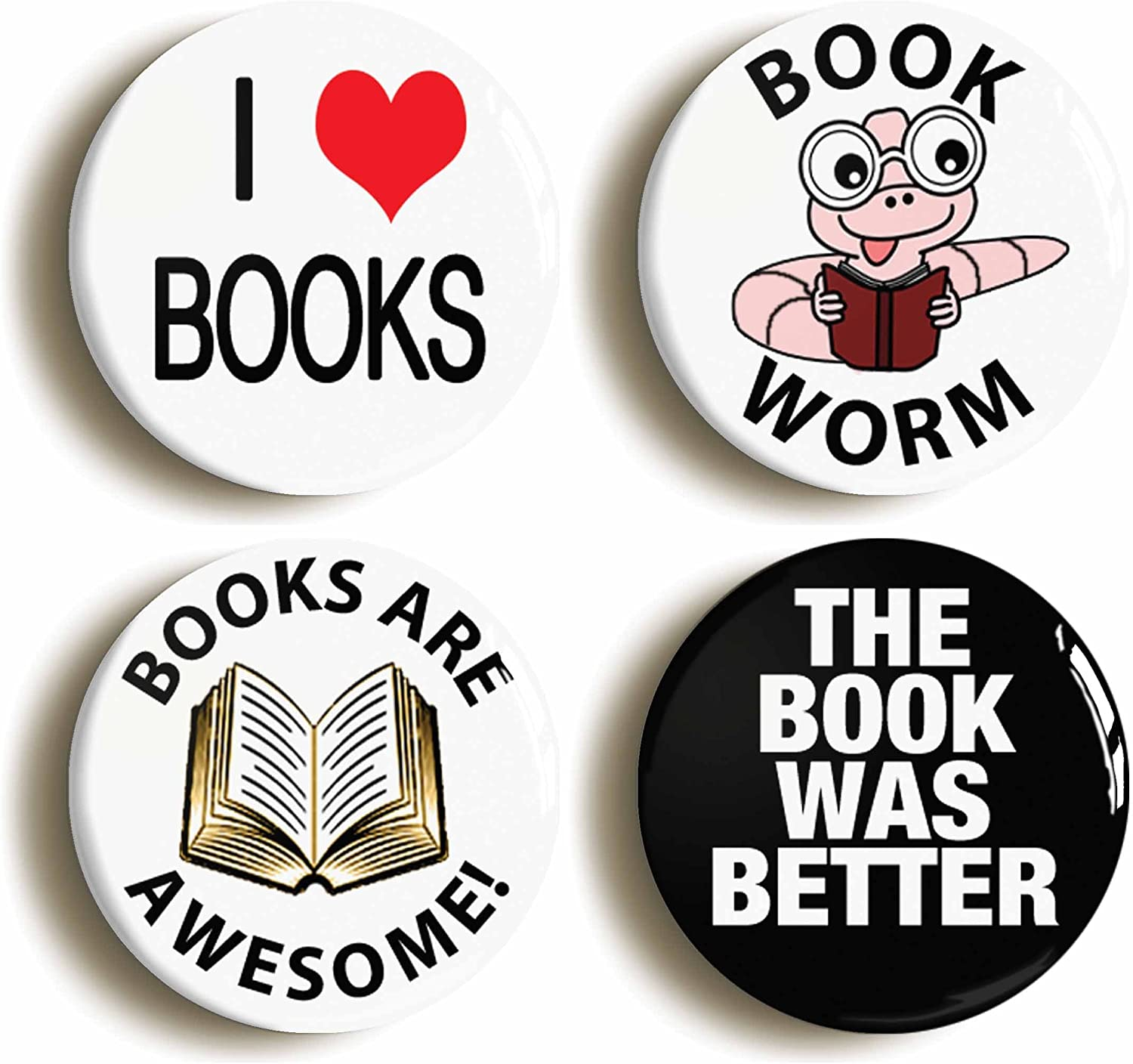 LIBRARY THE BOOK WAS BETTER FUNNY BADGE BUTTON PIN Size is 1inch//25mm diameter