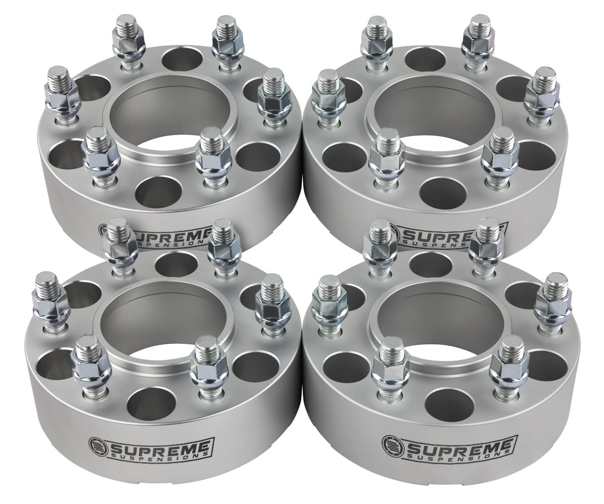 Supreme Suspensions - (4pc) 1995-2015 Toyota Tacoma 1.5'' Hub Centric Wheel Spacers 6x5.5'' (6x139.7mm) with Lip + M12x1.5 Studs [Silver]