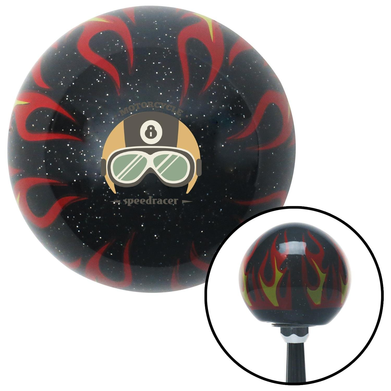 Motorcycle Speedracer Black Flame Metal Flake with M16 x 1.5 Insert American Shifter 294502 Shift Knob