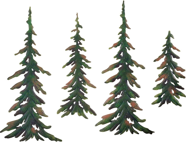 Tree Metal Wall Art Decor by Elfengarden - [4 Pack] Wall Hanging Decorations for Bedroom, Living Room, Bathroom, Indoor/Outdoor - Custom Pine Trees Sets Sculpture Home/Office Decorative