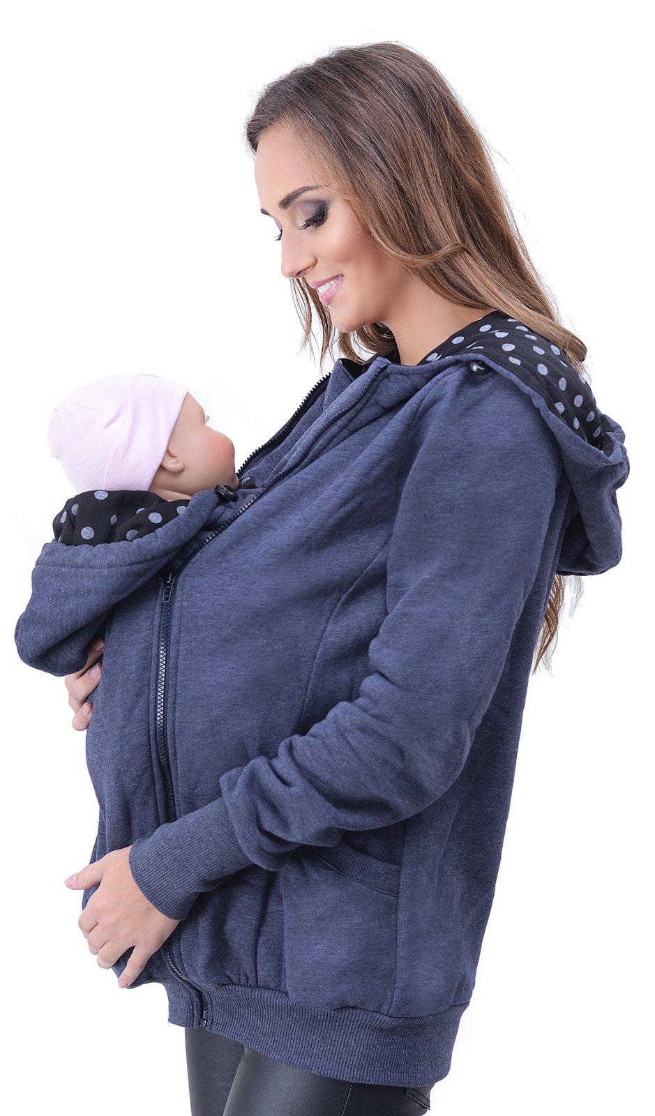 Mija - Maternity warm Hoodie / Jacket / Sweatshirt / for Baby Carriers 4046 (US8 / M, Jeans)