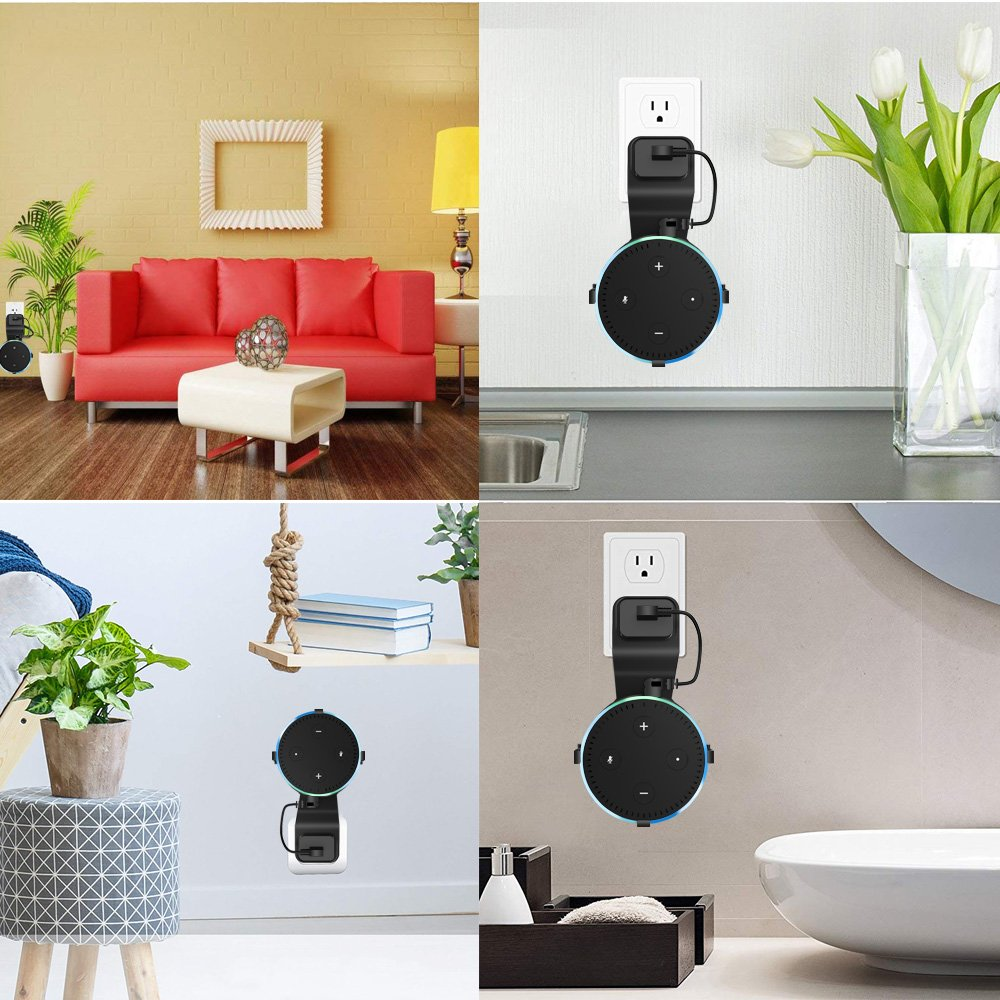 Echo Dot Wall Mount,KFK Outlet Wall Mount Hanger Stand for Dot 2nd Generation & Other Round Voice Assistants, A Space-Saving Solution for Your Smart Home Speakers Without Mess Wires Or Screws