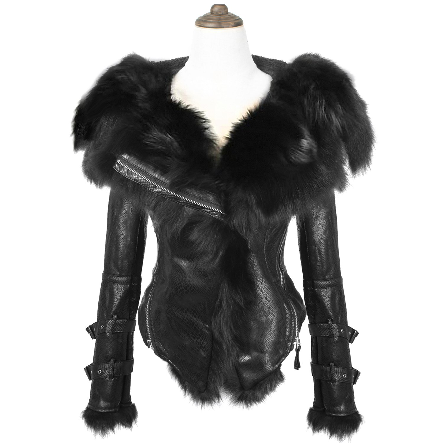 She'sModa Natural Real Fox Fur Collar Hoodie Slim Fit Women's Zipper Fleece Moto Jacket Winter Coat Black S