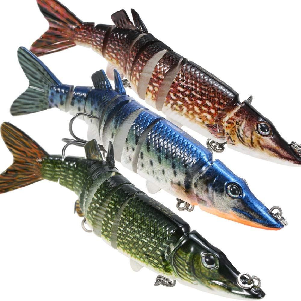 lixada Fishing Lure for Bass 5-8'' Multi Swimbaits Slow Sinking Hard Lure Artificial Bait 8Segment Lifelike Trout Hard Crankbait Treble Hooks (3Pcs-5'', 5in)