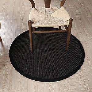 velocidad Round Carpet Sisal Woven Rug Bedchamber Drawing Room Entrance Hall Bedside Black Blanket Floor Mat Rug200cm
