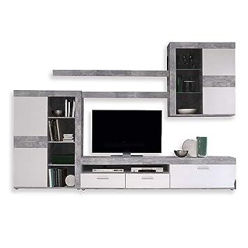 NEWFACE Wohnwand, Holz, Beton Optik / Weiß, 300 X 41 X 200.90 Cm