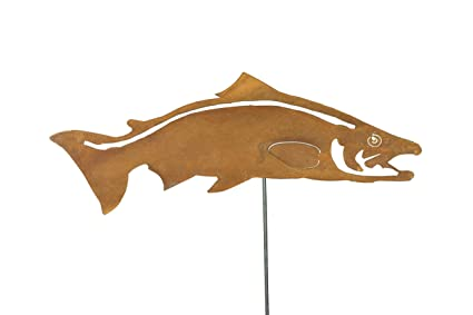 Swimming Salmon Fish Stake | Yard Art Sculptures | Yard Art Decor | Metal  Yard Art