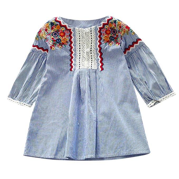 Amazon.com: Vestido bordado de encaje floral para bebés y ...
