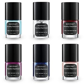 Amazon.com : BONTIME Natural Nail Polish - Set of 6 Colors, Non ...