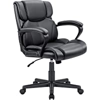 Furmax Mid Back Executive Office Chair Swivel Computer Task Chair with Armrests,Ergonomic Leather-Padded Desk Chair with Lumbar Support(Black)