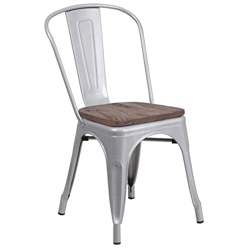 Taylor Logan Metal Stackable Chair with Wood Seat, Silver