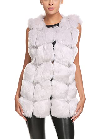 21e4241070b SoTeer Women s Winter Fur Sleeveless Coat Luxurious Fox Rabbit Warm Faux Fur  Vest Outerwear Light Grey
