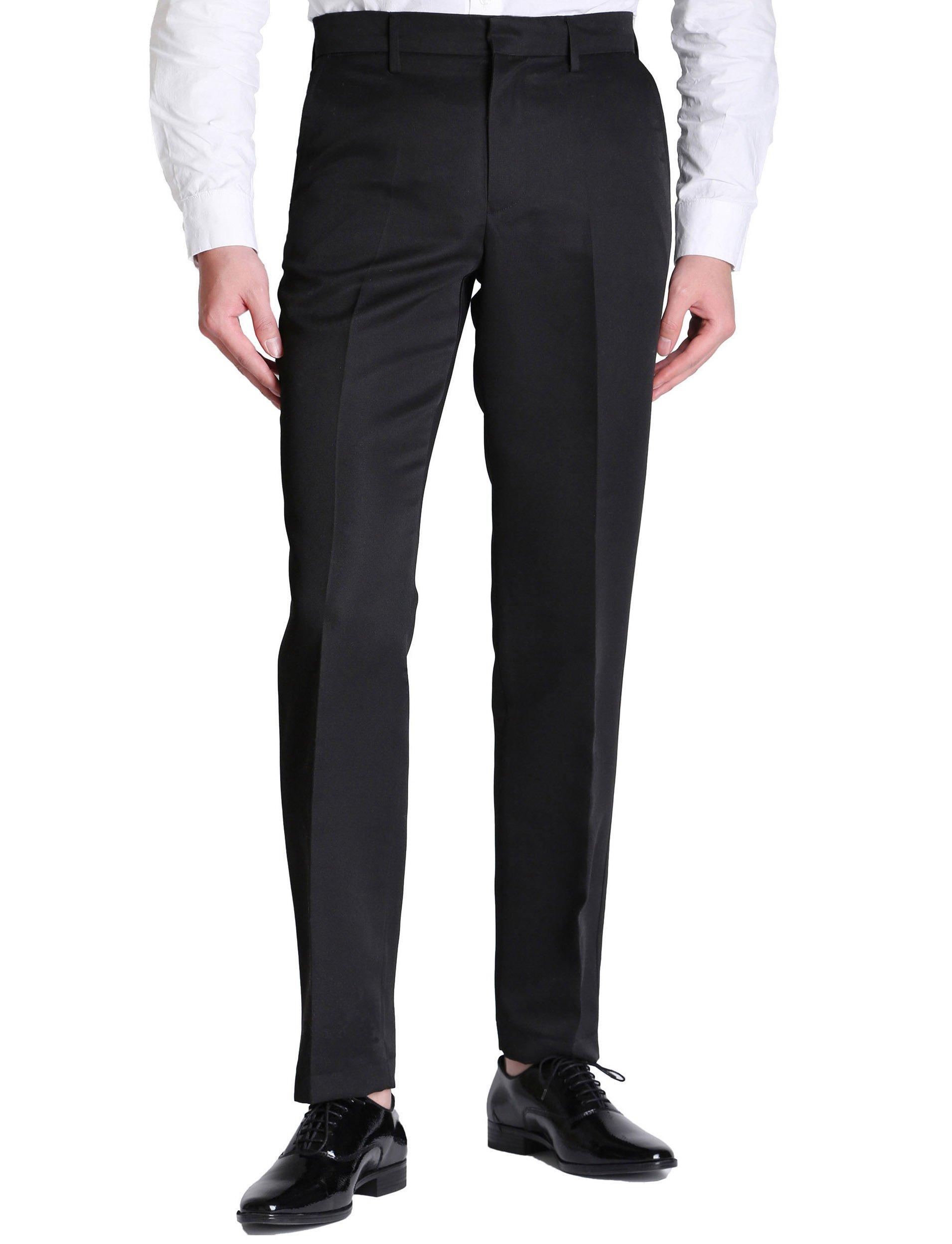Vero Viva Men's Straight Leg Fit Flat Front Dress Pants Business Casual Trousers(34W32L,Black)