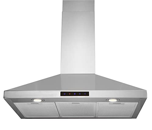 Kitchen Bath Collection STL75-LED Stainless Steel Wall-Mounted Kitchen Range Hood with High-End LED Lights, 30