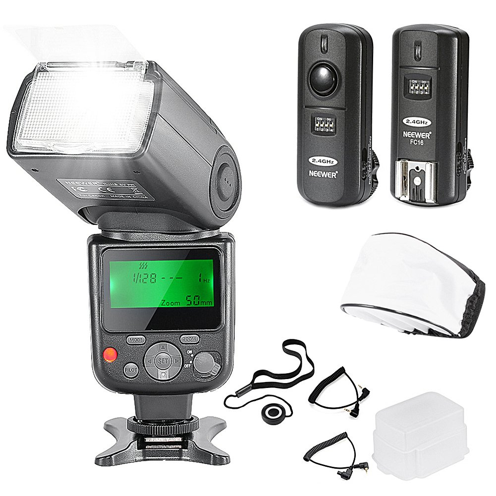 Neewer NW-670 TTL Flash Speedlite with LCD Display Kit for Canon DSLR Cameras,Includes:(1)NW-670 Flash,(1)2.4 GHz Wireless Trigger with C1/C3 Cable,(1)Soft/Hard Diffuser+(1)Lens Cap Holder by Neewer