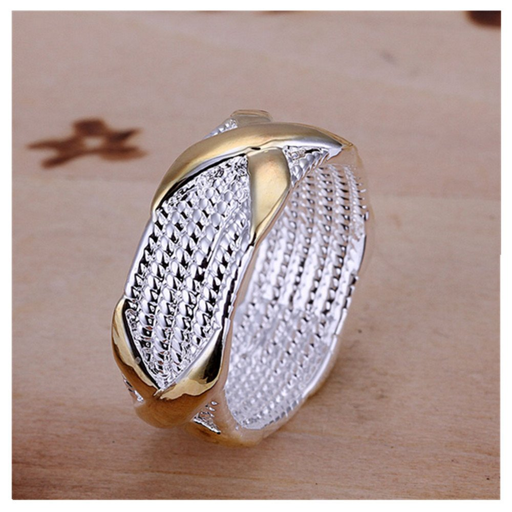 HMILYDYK Jewelry 925 Sterling Silver Plated Wide Fashion X Criss Cross Eternity Ring Wedding Band Gold GULKNSPCR013-8