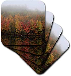 3dRose TDSwhite – Fall Seasonal Nature Photos - Fall Foliage Autumn Scene Lake Reflection Foggy Morning - set of 4 Coasters - Soft (cst_321843_1)