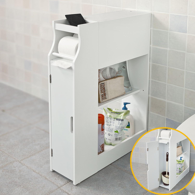 Porte Rouleau Papier Wc Sur Pied En Bois Blanc Meuble De Rangement