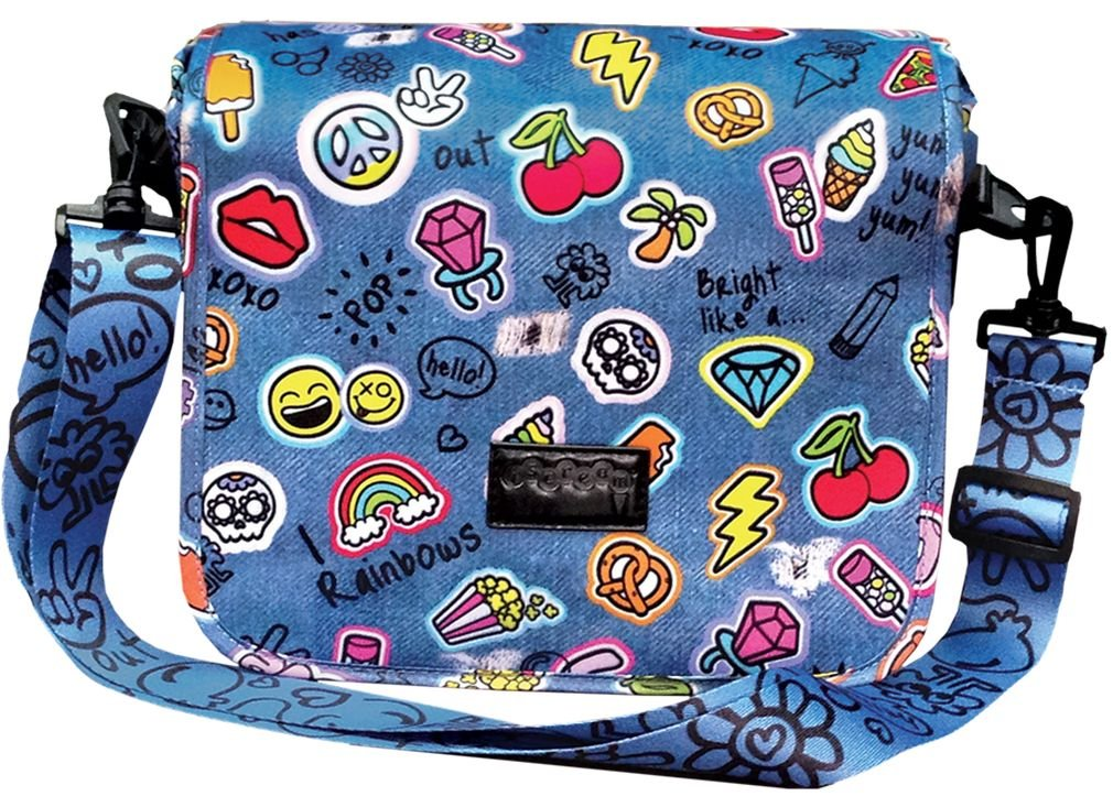iscream Girls Happy Patches Crossbody Messenger Bag Style Purse in Casual Neoprene