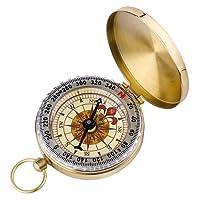 ARINO da Campeggio Portatile a Orologio da Tasca, Nottilucenti Navigazione Strumento Campeggio, Bussola, Colore Oro