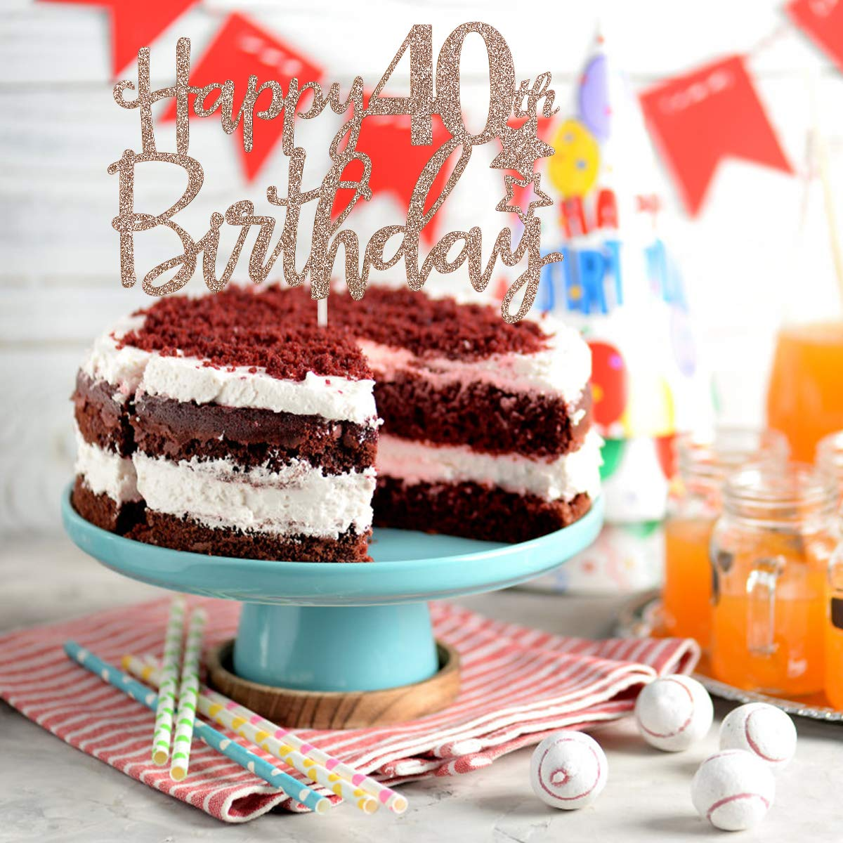 Rose Gold Glittery Happy 40th Birthday Cake Topper,40th Birthday Party Decorations,Birthday Cake Decor