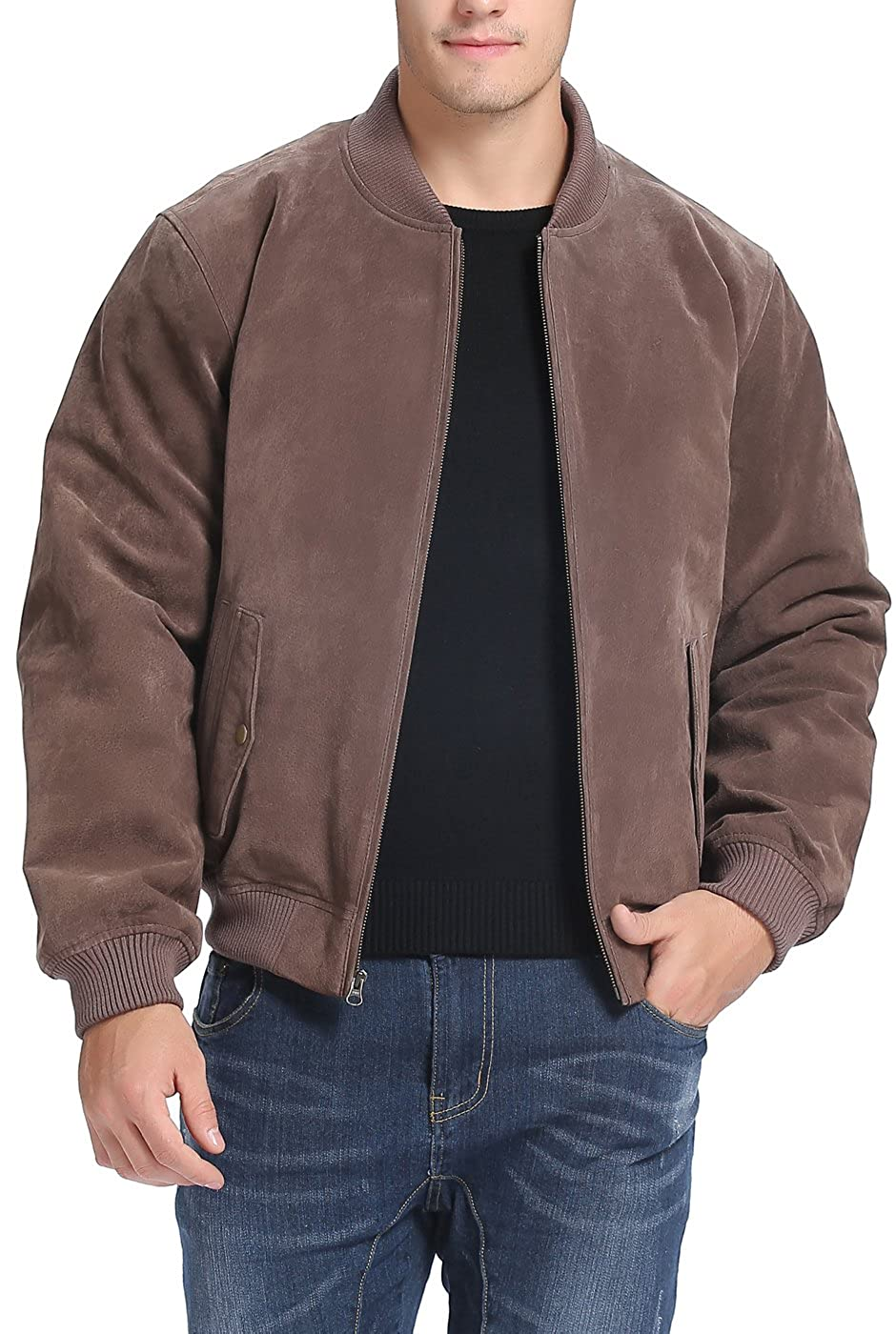 BGSD Men's Suede Leather Baseball Bomber Jacket (Regular Big & Tall)