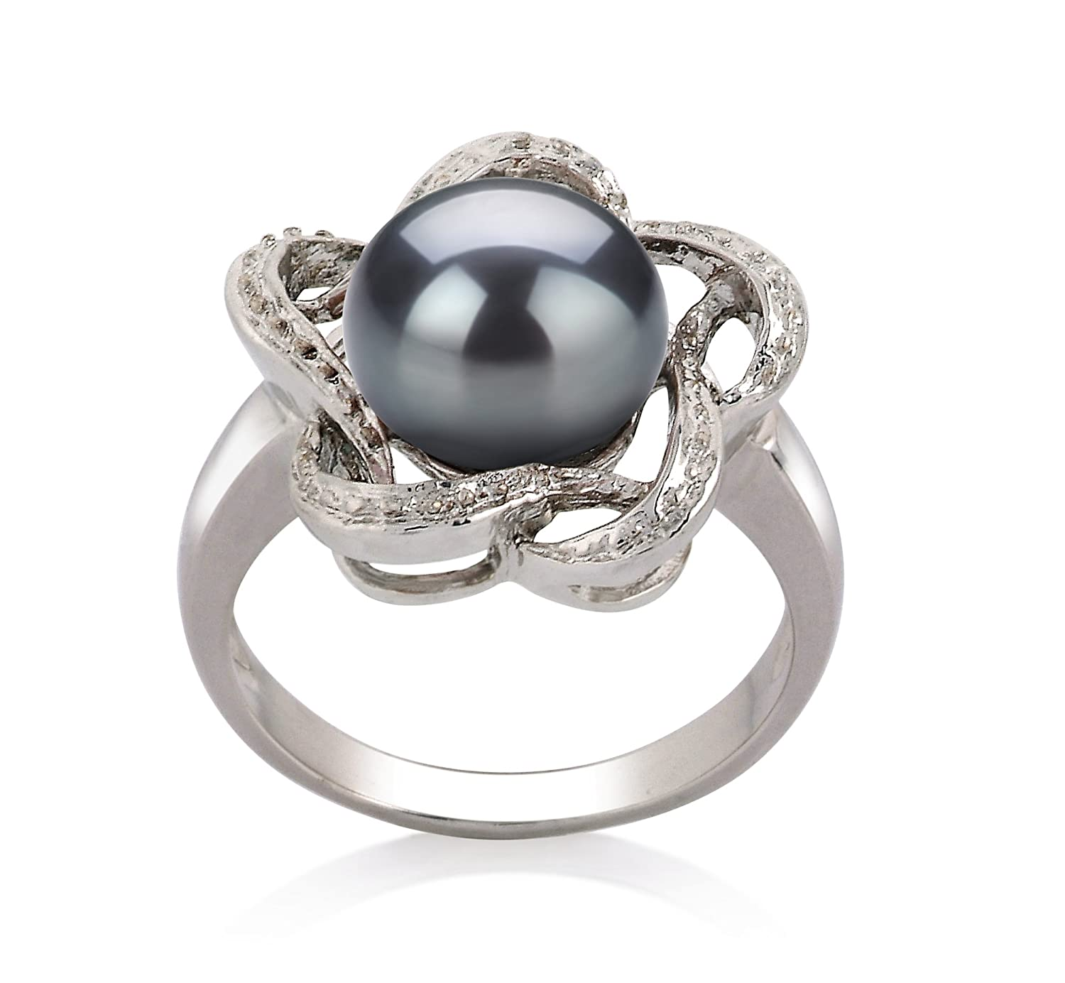 Black 9-10mm AA Quality Freshwater 925 Sterling Silver Cultured Pearl Ring