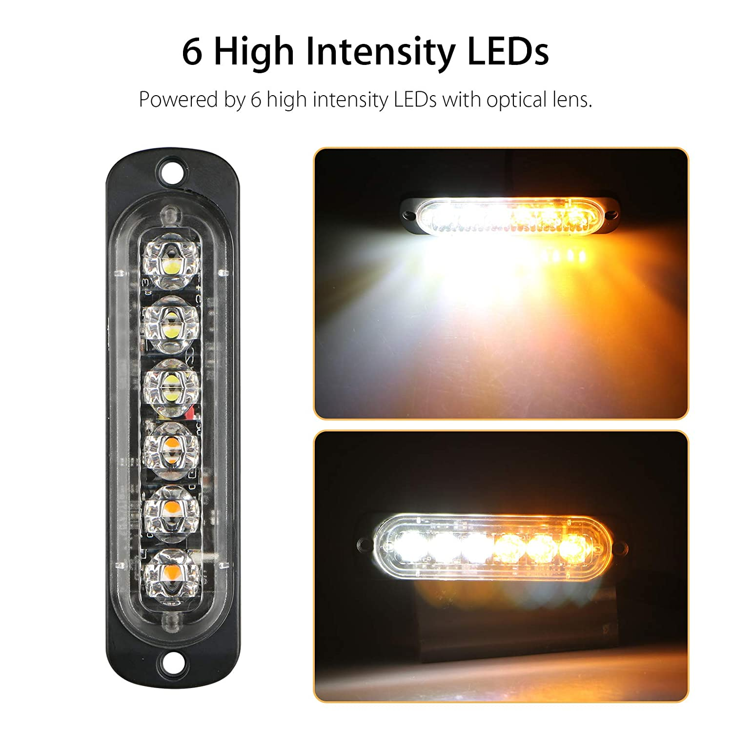 ATVs Universal 10-Pack 6 LED 18W Surface Mount Amber//White Emergency Warning Hazard Flashing Strobe Light Bar for Off Road Vehicle EEEKit Emergency Strobe Lights Truck