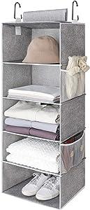"""StorageWorks 5-Shelf Jumbo Hanging Storage Closet, Hanging Organizer for Closet Rod, Hanging Cloth Organizer Storage, Canvas, Gray, 15""""W x 13""""D x 42.5""""H"""