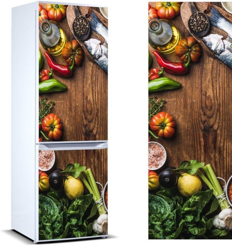Vinilo para Frigor/ífico verdura Aceite Pescado|Varias Medidas 185x60cm Adhesivo Resistente y de Facil Aplicaci/ón Pegatina Adhesiva Decorativa de Dise/ño Elegante|