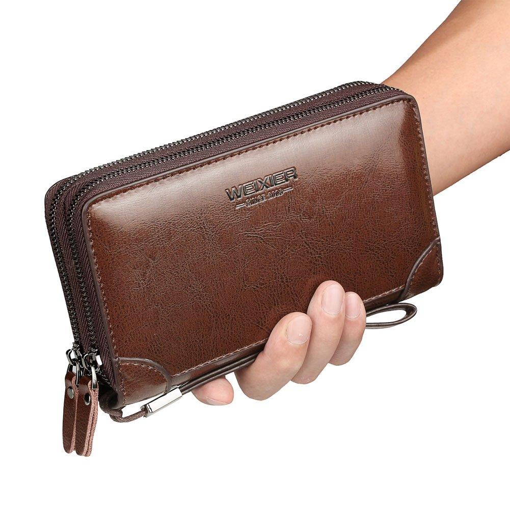 Mens Clutch Bag Handbag Leather Zipper Long Wallet Business Hand Clutch Phone Holder