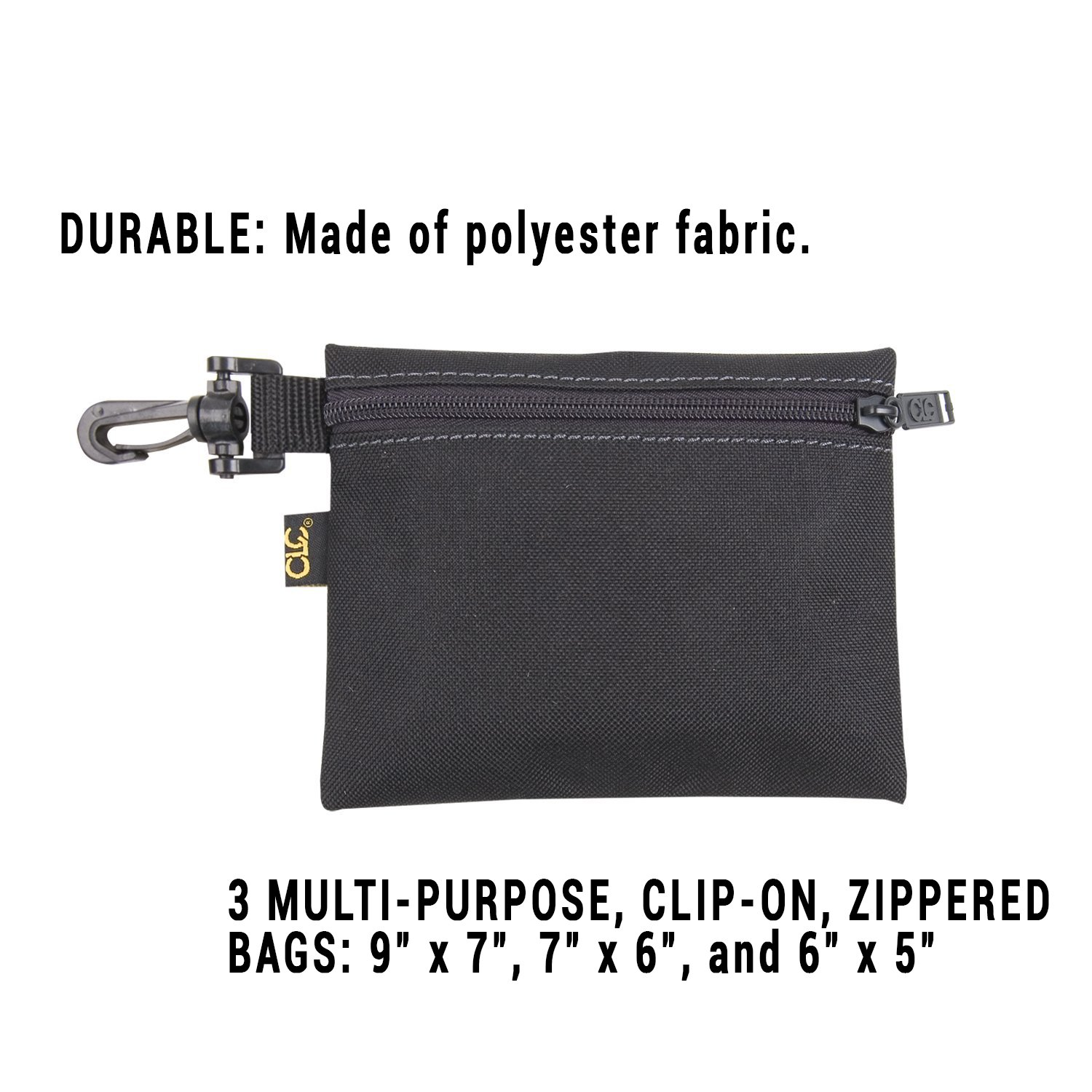 clc 1100 3 pack multi purpose clip on zippered poly bags tool bags