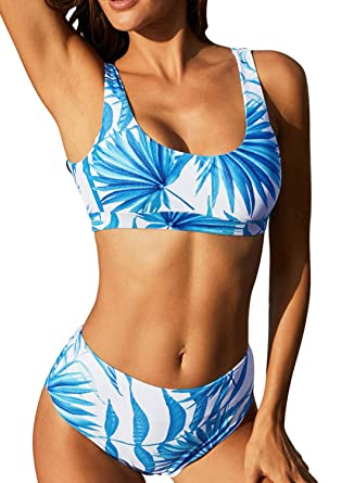 3bf9ac20d860 Amazon.com: HOTAPEI Women U Neck Tropical Print Crop Top High Waisted Bikini  Set Two Piece Swimsuits: Clothing