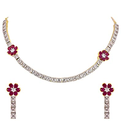 b97fddb0463e5 Ratnavali Jewels American Diamond CZ Gold Plated Designer Jewellery  Set/Necklace Set with Chain & Earring for Girls/Women (RVA104)