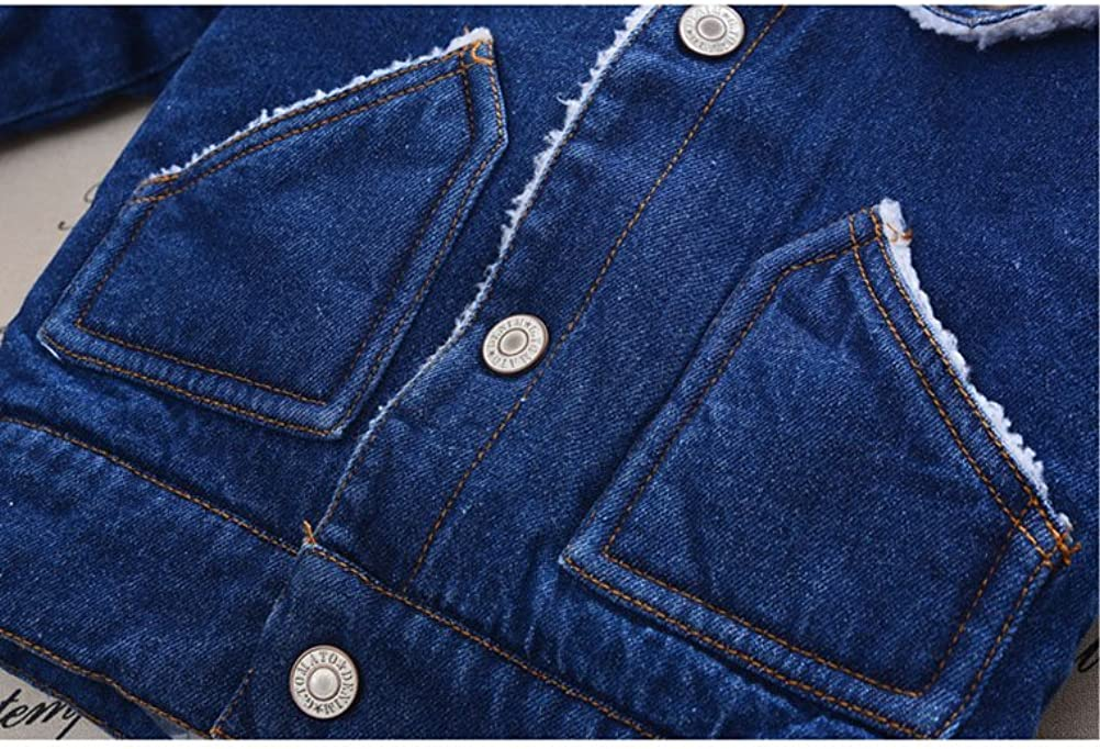 Baby Boys Basic Denim Jacket with Fleece Button Down Jeans Jacket Top