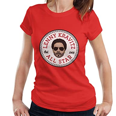4aa4393485d1 Lenny Kravitz All Star Converse Logo Women s T-Shirt Red  Amazon.co ...