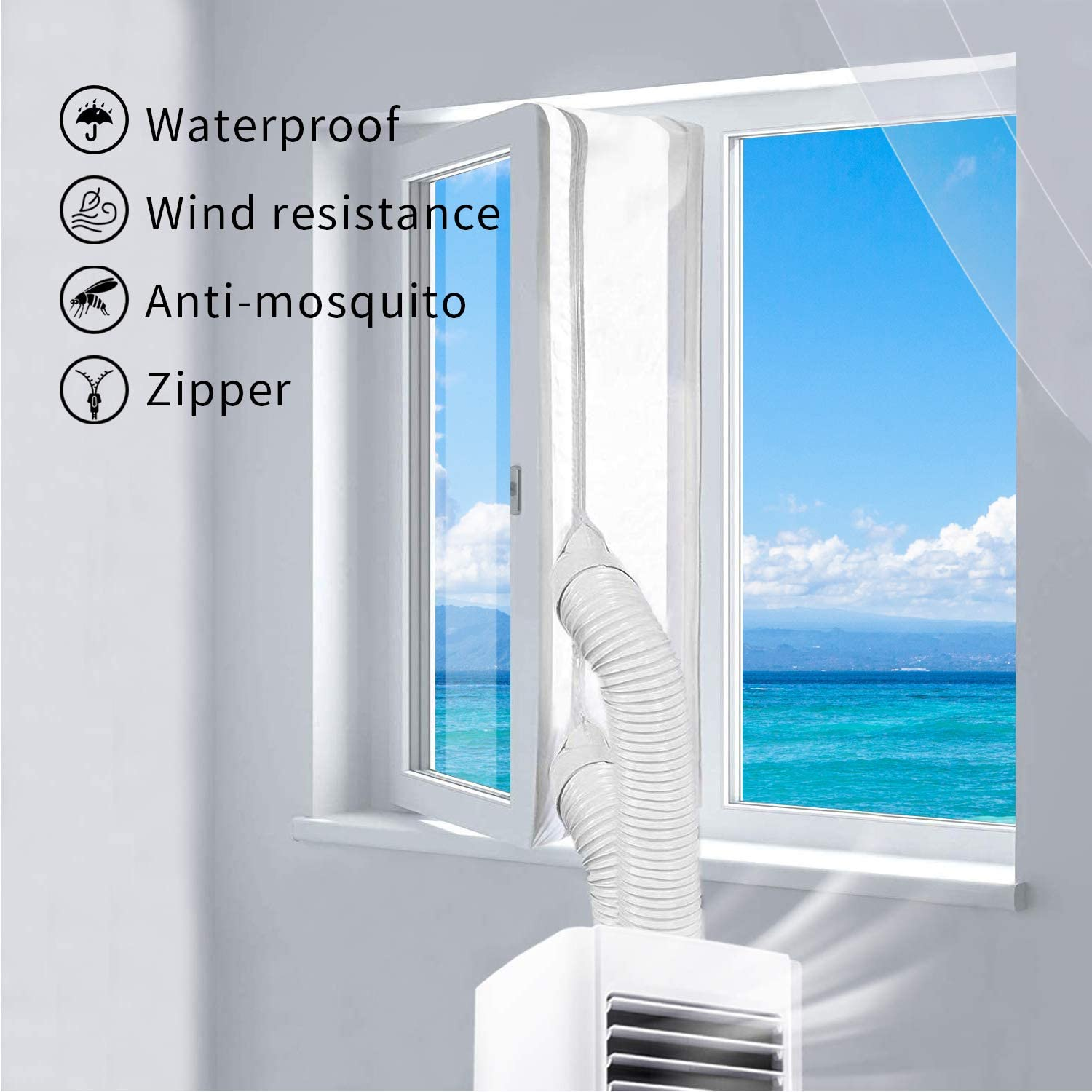 SUNKONG Window Seal for Mobile Air Conditioners and Exhaust Air Dryers, Air Conditioner Airlock for Universal Windows with a Maximum Length of 400 cm