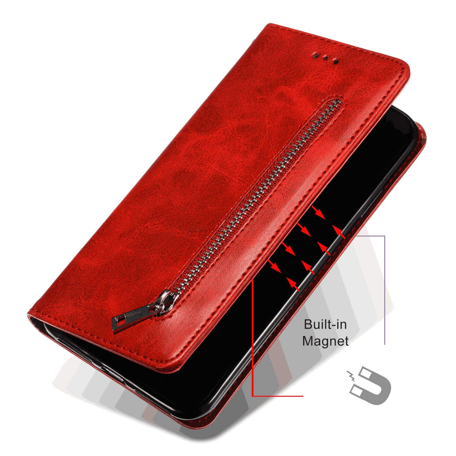 Positive Cover Compatible with Samsung Galaxy S9 Plus red PU Leather Wallet Flip Case for Samsung Galaxy S9 Plus