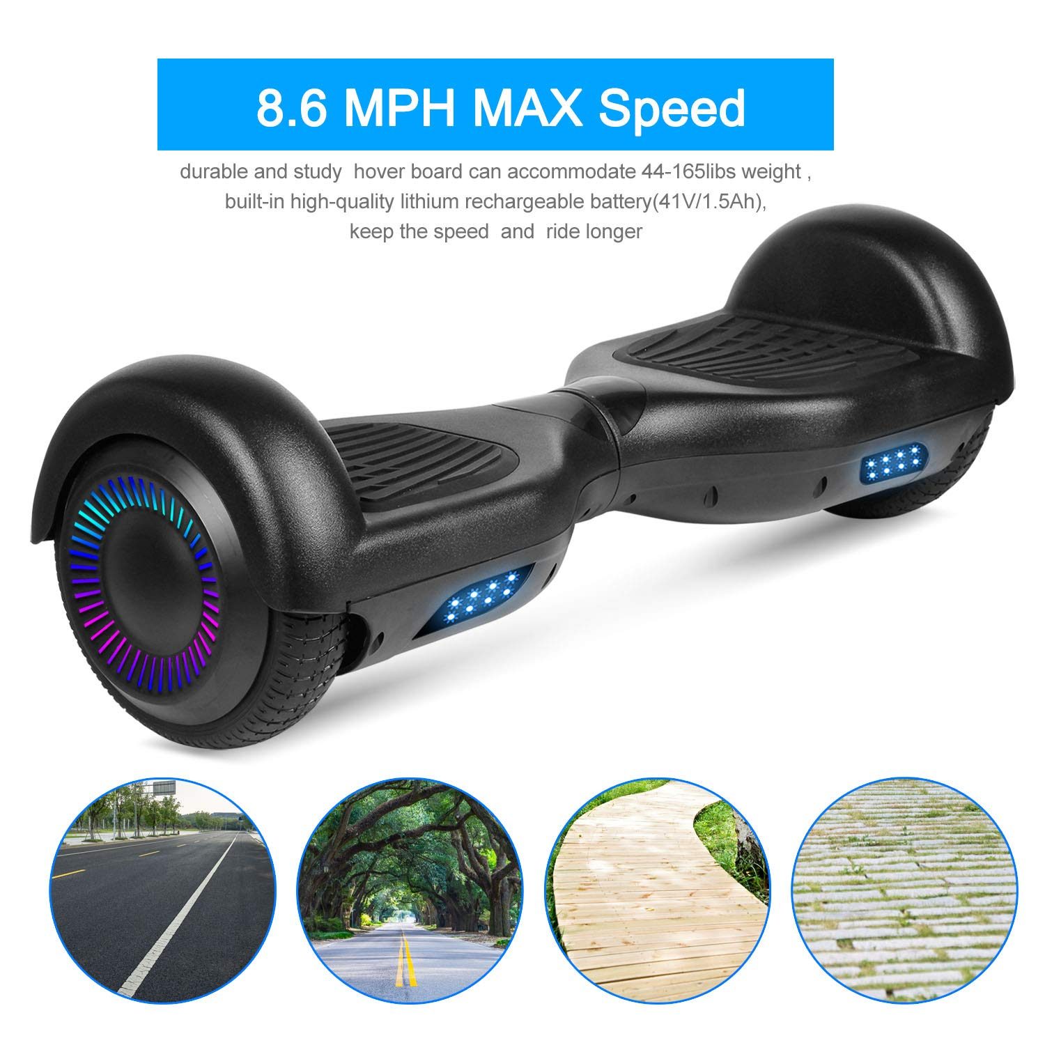 SWEETBUY Hoverboards UL Certified 6.5 Smart Scooter Two-Wheel self Balancing Electric Scooter Light Free Bag and Charger Included by SWEETBUY (Image #3)